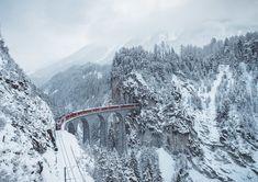 Train crossing the Landwasser Viaduc, Switzerland