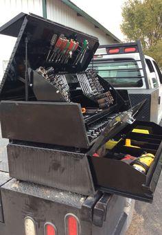 custom trucks parts Truck Storage Box, Truck Bed Tool Boxes, Truck Tools, Truck Mechanic, Truck Flatbeds, Pickup Trucks, Gmc Trucks, Shop Truck, Diesel Trucks