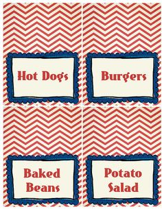 July 4th Vintage Chevron Place Cards by Pumpkin Beans #July #America #Patriotic