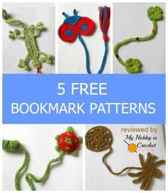 My Hobby Is Crochet: Bookmarks for Kids - 5 Free Crochet Patterns Crochet Books, Crochet Home, Crochet Gifts, Crochet For Kids, Diy Crochet, Crochet Children, Crochet Baby, Crochet Ladybug, Crochet Turtle