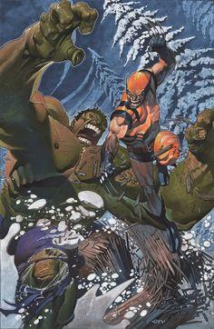 Wolverine vs Hulk by Christopher Stevens Hulk Marvel, Ms Marvel, Avengers, Spiderman, Marvel Comics Art, Marvel Heroes, Marvel Characters, Geeks, Comic Books Art