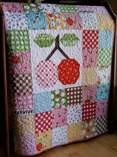 Quilt Baby Toddler Cherries Sew Cherry Lori Holt by PiecesOfPine