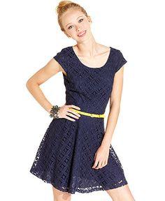 BCX Juniors Dress, Cap Sleeve Lace Belted A-Line - Juniors Dresses - Macy's