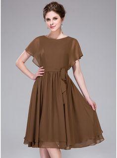 Vestidos princesa/ Formato A Decote redondo Coquetel De chiffon Vestido de madrinha com Babados em cascata