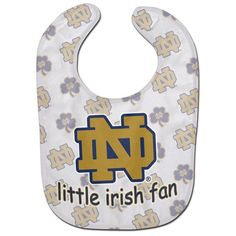 Notre Dame Baby Bib. Shop now for officially licensed NFL, NCAA, MLB, NHL, NASCAR, DC and Marvel Comics,  and Disney key chains, bottle openers, magnets, novelty socks and gift items for the sports and animal lover. Collectible products. Free shipping in the USA and family owned since 2004.
