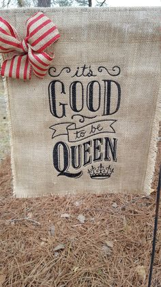 Bet you know someone who needs this flag! It is indeed Good to be Queen! A Wonderful gift for yourself or others. Design is original and is embroidery/applique. This flag has a beautiful burlap/lace bow. Flag has been treated with water repellent spray so although not waterproof it will be good in the weather. Measures apx 13 in wide by 18 in long. One photo shows that this flag is double and the backside of the design is not visible. (This flag fits a small garden flag pole which ...