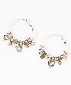 Look what I found on #zulily! Silver & Gold Locked Heart Hoop Earrings by Mica #zulilyfinds