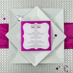 Hot Pink Glitter Wedding Menus | Too Chic & Little Shab Design Studio, Inc.Too Chic & Little Shab Design Studio, Inc.