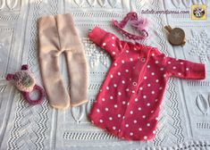 Pink lace hairband with tulle flower, sleeping T-shirt, warm tights, rattle for doll by #Tulale