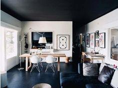 black ceiling and floors