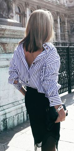 Love the look of striped shirt wore backwards