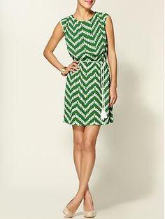green geometric chevron print dress. summer lawn party.