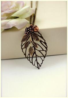 An Autumns Dreamy Day...  Antiqued Bronze Leaf Pendant by Marolsha, $24.50