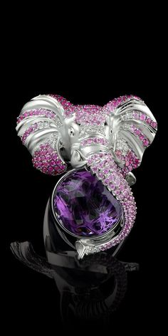 Ring 6262 Collection: Animal world  18K white gold, amethyst 9,27 ct, diamonds, pink sapphires, enamel.