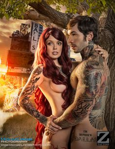 Adam and Eve Rebirth - In January of 2014 Z Tattoo Magazine approached me to develop a multi image themed pictorial. Adam and Eve had been among the themes I wanted to tackle for a while. However, I didn't want to do it like everyone else. You know, garden of eden… Since it was a Tattoo magazine that it would appear in I used this opportunity to take things in a different direction. What if Adam and Eve were reborn in modern times or post modern times. A do over, a rebirth, a second coming…