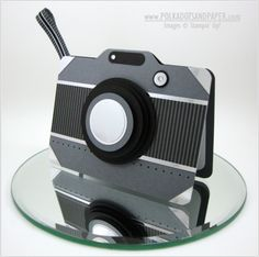 handmade card .... shaped like a camera ... shades of gray ... fun look ... has a white panel inside for writing ... luv it!