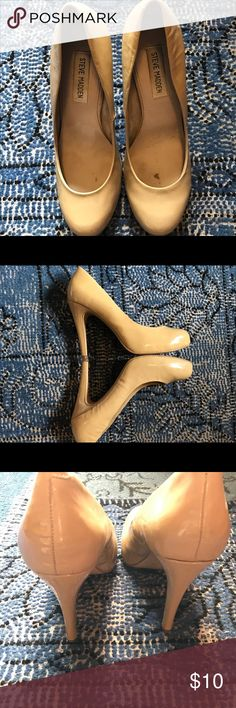 Women's Steve Madden Heels These pumps are great!  Comfortable, classy and match everything.  Patent leather with very light scuffing on the side panels.  See pictures for details.  Overall, good used condition.  Perfect for work! Steve Madden Shoes Heels