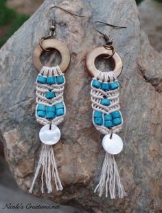 Beach lovers lightweight hemp earrings!!! Tan shell donuts with .5mm natural organic hemp cord, with teal wood bead accents and featuring a white mother of pearl bead. • • • #nicolesmacramecreations #hempearrings #lightweightearrings #customselection#inspiredbynature #ocean #daydreamer #Maine #ethicalfashion #organicjewelry #sustainablejewelry #beach #surf #surfergirl #shell #seashell #beachbum #beachcomber #handmade #natural