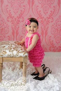 This is Coral for her first birthday photo shoot! Wearing her adorable GCH Romper. Baby Girl Rompers
