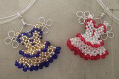 Miniature Beaded Dress Pendant Custom Colors by ArhyonelDesigns