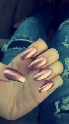 rose-gold-metallic-acrylic-nails-long-coffin-shape-copper-penny