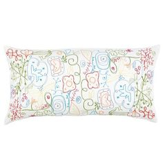 When Suzanne Kasler designs a room, she always adds a touch of whimsical surprise. This unique accent pillow has the playful spirit of a Miro painting with swirls and stylized florals embroidered on soft linen/cotton blend.