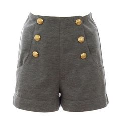 Gold Button Shorts -- these almost look like they're made of sweatshirt material