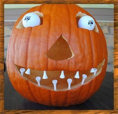 The Style Ref | The Fashion Authority for Sports Fans: Pumpkin Pride | Golf ball crafts, Golf crafts, Golf decor Golf Halloween, Theme Halloween, Halloween Ideas, Halloween Foods, Halloween 2015, Halloween Design, Happy Halloween, Halloween Decorations, Halloween Costumes