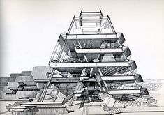 Section Perspective by Paul Rudolph.  Burroughs Wellcome Company.  Beautiful rendering, shadow, depth.