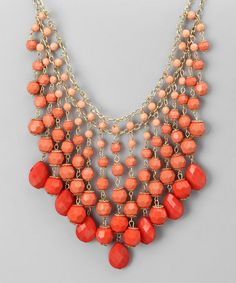 Take a look at this Coral & Gold Sorbet Necklace by All The Rage on #zulily today!