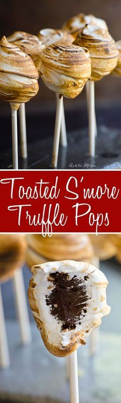 a S'more without a fire - a rich truffle center and a soft gooey toasted marshmallow exterior, a treat everyone will love!for a S'more without a fire - a rich truffle center and a soft gooey toasted marshmallow exterior, a treat everyone will love! Yummy Treats, Delicious Desserts, Just Desserts, Sweet Treats, Dessert Recipes, Yummy Food, Cake Pop Recipes, Camping Desserts, Picnic Recipes