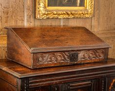 17th century early oak carved writing slope
