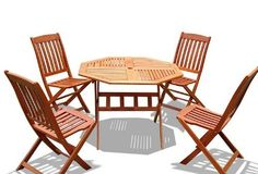 VIFAH V412SET12 Outdoor Wood 5-Piece Dining Set, Natural Wood Finish, 40 by 40 by 29-Inch by VIFAH. $546.99. Eucalyptus is mold, mildew, fungi, termites, rot and decay resistant. Made out of FSC-certified eucalyptus. Eucalyptus is pre-treated, expertly kiln-dried, extremely durable for outdoor/indoor use. 1 octagonal table. 4 folding chairs. Design: This 5-Piece outdoor wood dining set is designed with portability so that it is convenient for any outdoor activities or compact spa...