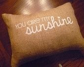 """12 x 16 """"You are my sunshine"""" Burlap Pillow Cover with Insert"""