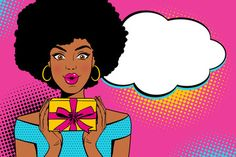Young sexy surprised african american woman with open mouth holding bright gift box and empty speesh bubble. Vector background in retro comic pop art style.: comprar este vector de stock y explorar vectores similares en Adobe Stock Pop Art Women, Black Women Art, Cartoon Background, Vector Background, Pop Art Face, Comics Vintage, Frida Art, Pop Art Girl, Pop Art Illustration