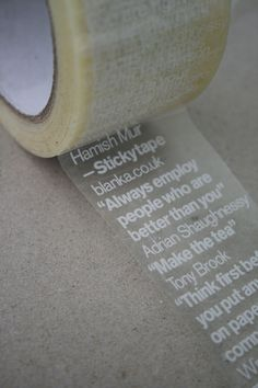 Sticky advice — Packing tape with quotes. TypeNeu: An Odyssey in Typography Funny Commercials, Funny Ads, Commercial Ads, Grafik Design, Masking Tape, Packaging Design, Just In Case, Stationery, Gift Wrapping