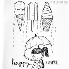 Ice Cream + Summer = Happy. Day 34 of yearlong 30 minute a day sketchbook project. Cassie Loizeaux