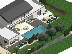 Plans 3D-Aménagements extérieurs sur mesure Eden Design, Plans, Foyer, Mansions, House Styles, Home Decor, Front Gardens, Outdoor Areas, Landscape Planner
