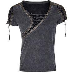 Retro Vintage Black Short Sleeve Gothic Steam Punk Fashion Top for Men SKU-11409456