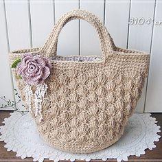 麻ひもの松編みバッグ*巻きバラコサージュ
