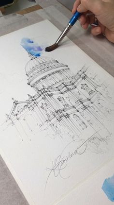 Watercolor full drawing video sketch tutorial, St Pau's Cathedral, London, UK - Aquarelllmalerei Watercolor Video, Watercolor Painting Techniques, Watercolour Tutorials, Watercolor Drawing, Painting & Drawing, Watercolor Paintings, Drawing Techniques, City Drawing, Watercolor Sketchbook