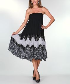 Look at this #zulilyfind! Black & Gray Leopard Dot Strapless Midi Dress by Ananda's Collection #zulilyfinds - My Dress for Maui!!  Looks comfy
