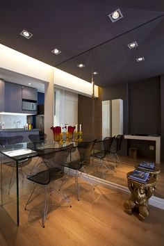 1. Mirrors  Mirrors increase the perception of space. Especially if you dress up an entire wall with mirror and attach your table to the mir...