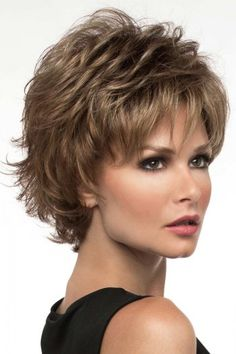 Alyssa by Envy Wigs is a fashion forward layered short shag style. Fluff her up or comb in closer for a more subtle appearance. From spiky to softer this mid-length style is designed to compliment many age ranges. Really works as a wig with very lit Short Shag Hairstyles, Trending Hairstyles, Medium Haircuts, Short Hair With Layers, Short Hair Cuts, Short Wigs, Blonde Highlights, Blonde Tips, Synthetic Wigs