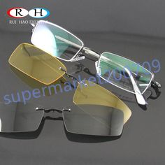 d1f1675dec 2PC Polarized Magnetic sunglasses CLIP-ON Eyewear Sun Glasses Monel Frame  6003… Clip On