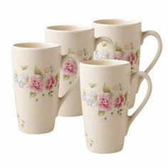 Pfaltzgraff® Tea Rose Latte Mugs, Set of 4 @Wendy Felts | GimmieFreebies #WinYourHolidayWishList