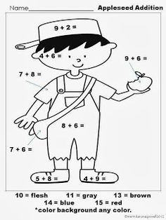 Pirate Girl has a FREE Johnny Appleseed math worksheet. It focuses on addition and coloring.