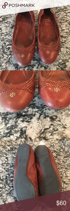 Tory Burch Flats Brown Flats with a snake skin like outer material and gold emblem Tory Burch Shoes Flats & Loafers
