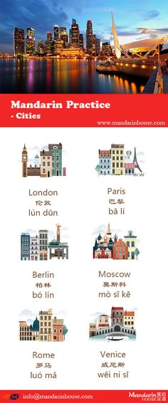 Cities in Chinese.For more info please contact: bodi.li@mandarinhouse.cn The best Mandarin School in China.