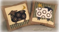 """Crane Design by Jan Mott Wool Applique Penny Rug & Punchneedle Patterns: New Pattern Release """"Country Friends"""" Wool Applique Sheep & Rabbits"""